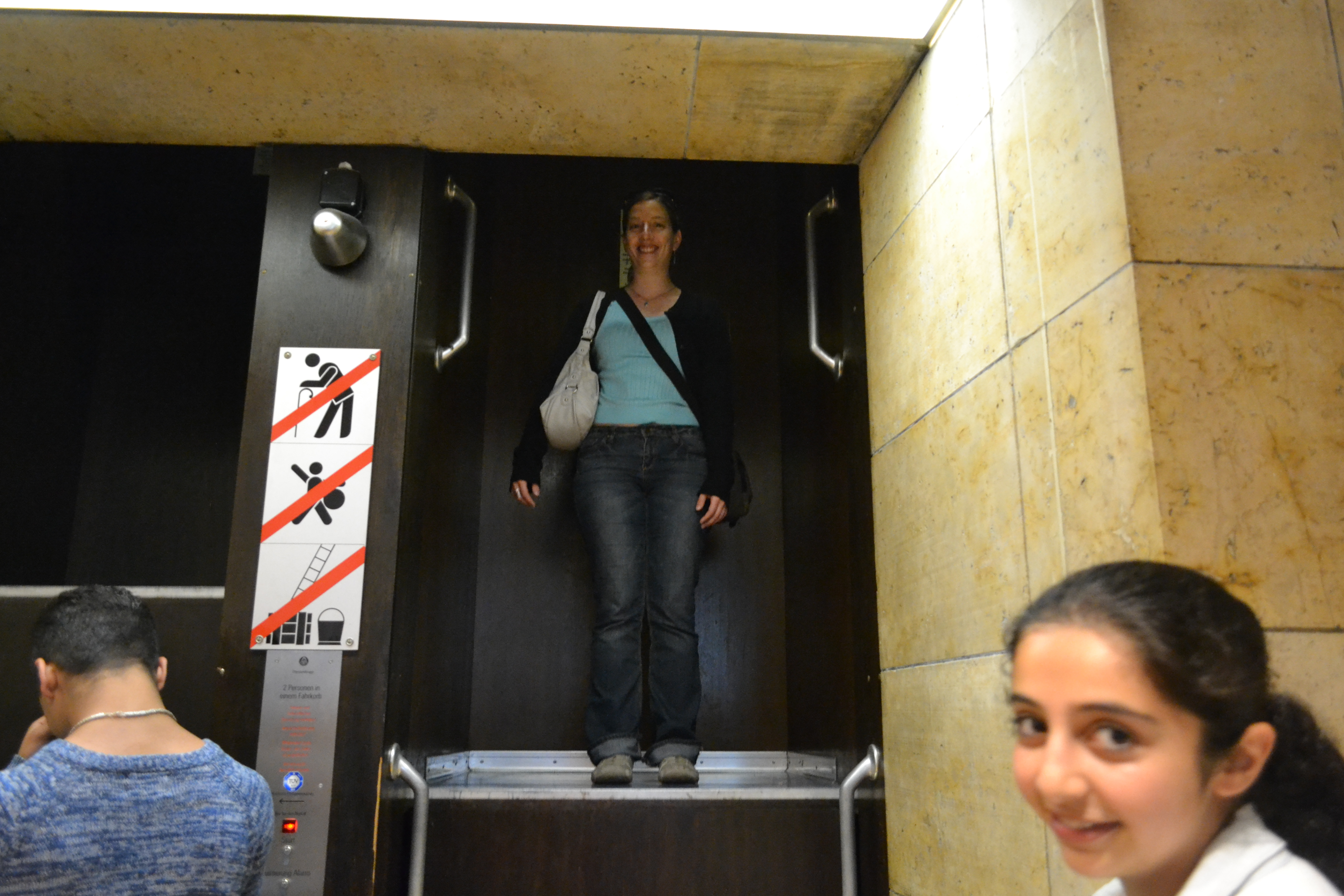 Here I am coming down from my ride on a continuously-moving elevator