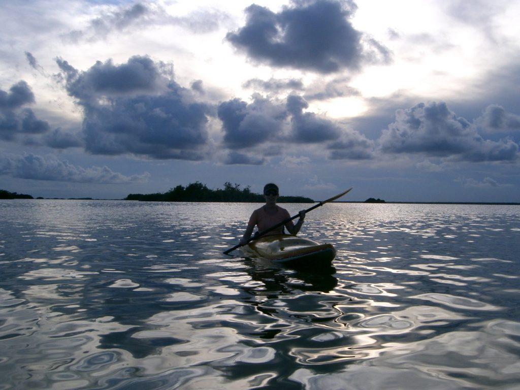 Kayaking as the sun is starting to set.