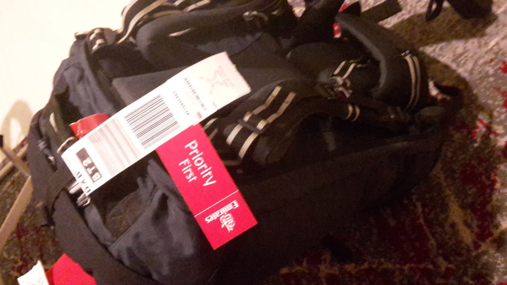 Sri Lanka Colombo backpack with Emirates First tag Rules to Travel By
