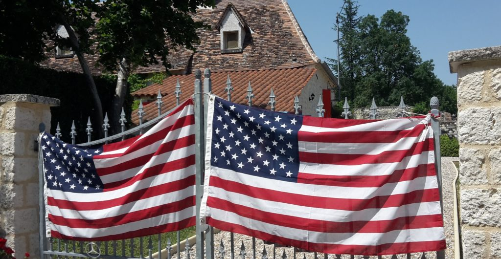 American Flag Welcome Celebrating July 4th Abroad small town France 20150704_153135 edited (2)
