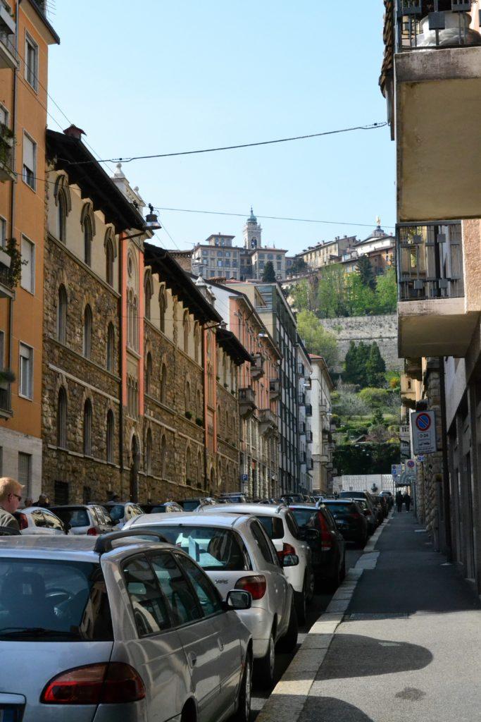Looking from Bergamo's citta bassa up at the citta alta