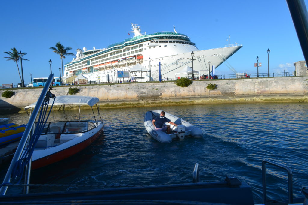This is how close the catamaran got us to the cruise ship.