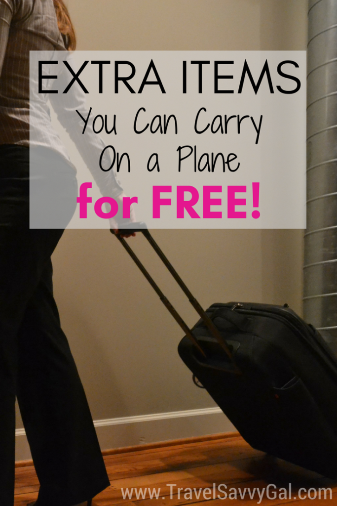 travel hack extra items you can carry on a plane for free travel savvy gal. Black Bedroom Furniture Sets. Home Design Ideas